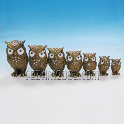 Бухалчета декорирани 7 бр.к-т - фигурки от резин