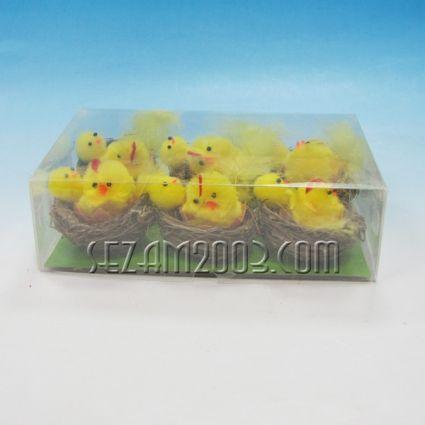 Пиленце в гнездо - 6бр.в кутия - Великденска декорация