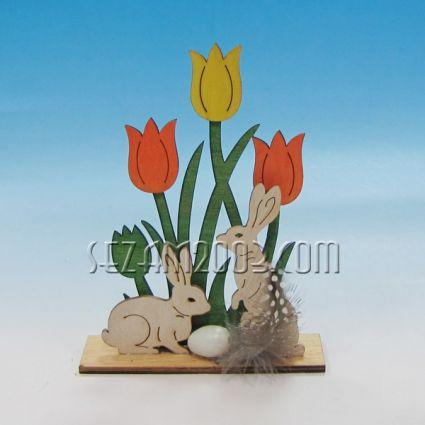 Заек в градинка - Великденска декорация от мдф
