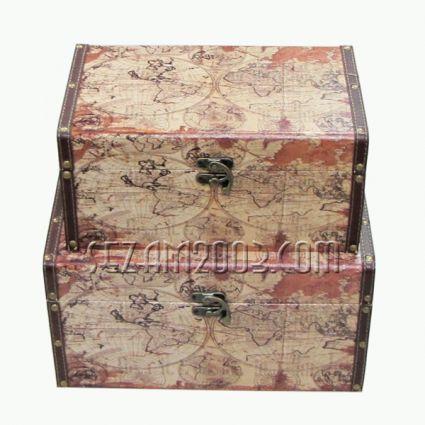 Кутия от дърво декорирана с плат - 2бр.к-т