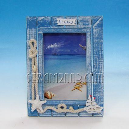 рамка за снимки от дърво с морски декор и надпис БЪЛГАРИЯ