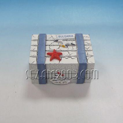 Кутийка от дърво морски декор с надпис България