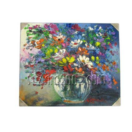 Цветя във ваза- картина масло ръчно рисувана