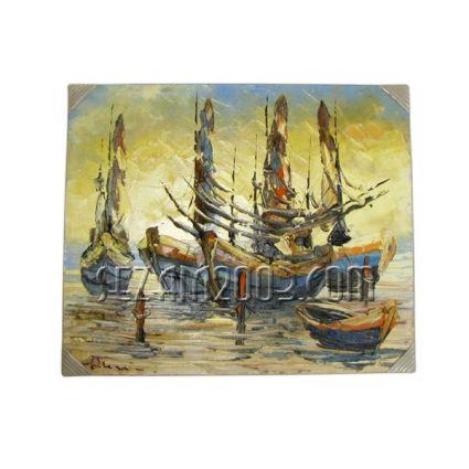 Стари лодки - картина масло ръчно рисувана