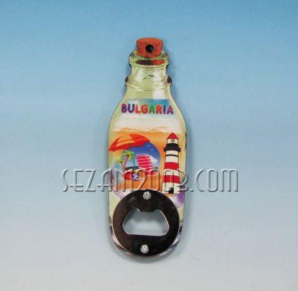 Отварачка за бутилка / магнит за хладилник от мдф - БУТИЛКА + БГ