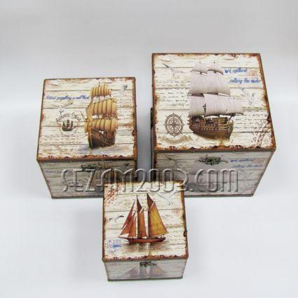 Кутия / ракла от дърво и плат морски декор 3 бр.к-т