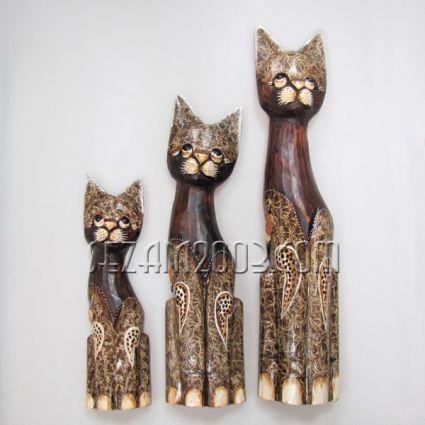 Cats wooden decorated 3 pcs set