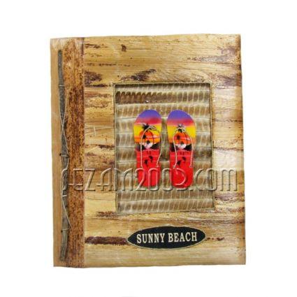 Албум за снимки-10 листа-еко материали с дървени джапанки и надпис Сл.бряг