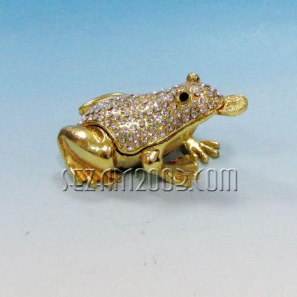 Жаба с пара - кутийка за бижута от метал с камъни в лукс кутия