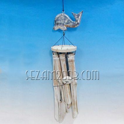Вятърен звънец бамбук с висулка делфин от дърво