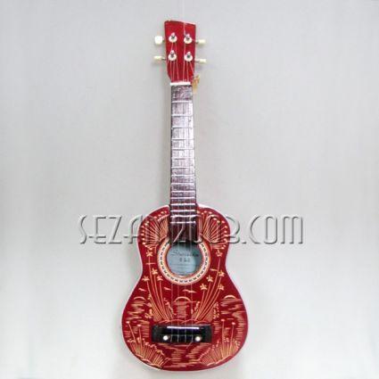 Мини китара отдърво с дърворезба - укулеле