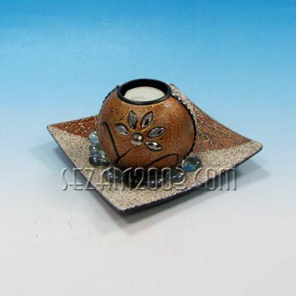 Свещник с чинийка от мдф,декориран+камъчета