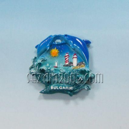 Магнит за хладилник от полирезин ДЕЛФИНИ с релефна картинка и надпис България.
