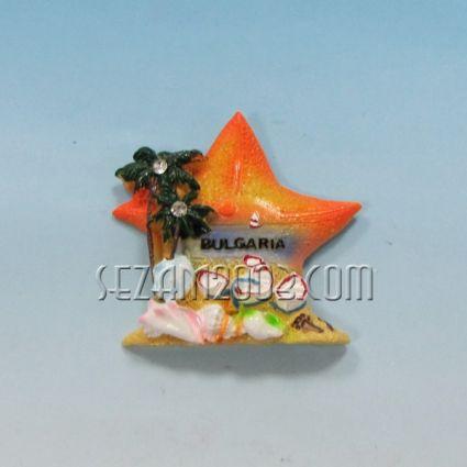 Магнит за хладилник от полирезин М.звезда с релефна картинка и надпис България.