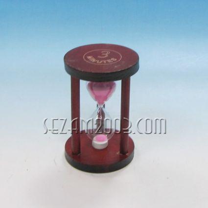 пясъчен часовник от дърво  с 3 колони и цветен пясък-3мин