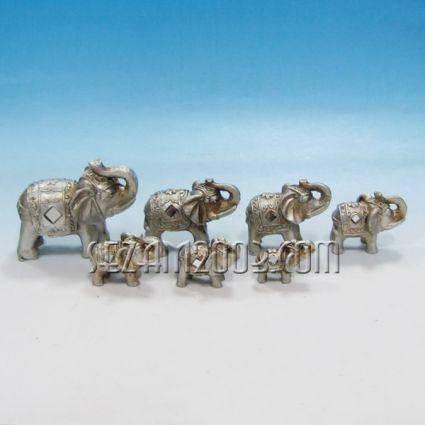 Слончета 7 бр. к-т декорирани  от полирезин
