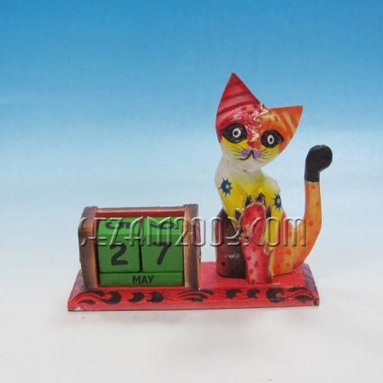 Котка+ вечен календар от дърво цветен