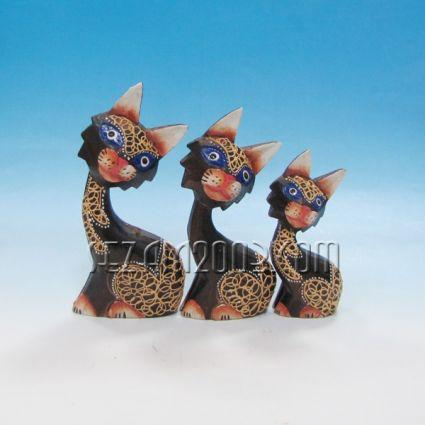 Котенца од дърво декорирани 3 бр.к-т