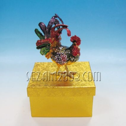 Rooster - Luxurious metal jewelry box