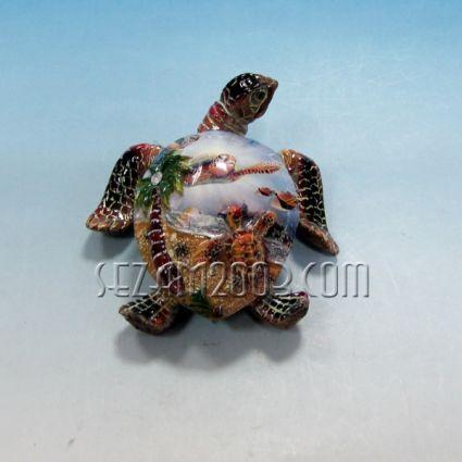 Костенурка с морска декорация от полирезин