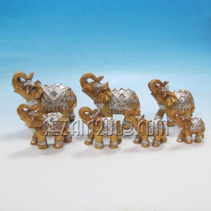 Слончета 7 бр.к-т -  декорирани от полирезин