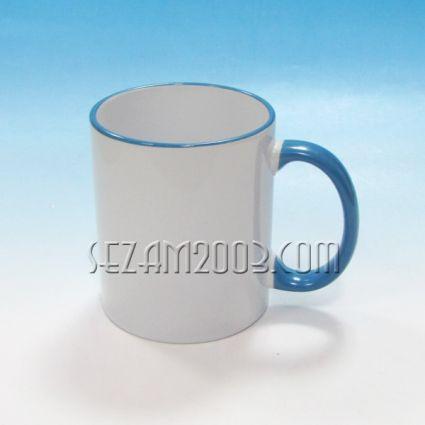 Чаша за сублимация бяла+синя дръжка и кант