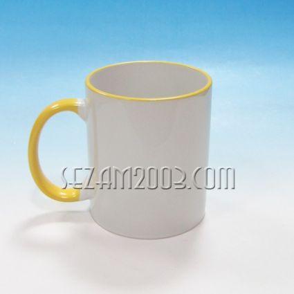 Чаша за сублимация бяла+жълта дръжка и кант