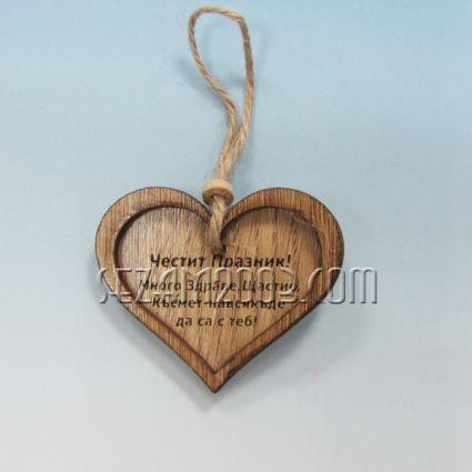 Сърце /висулка  с пожелания от дърво