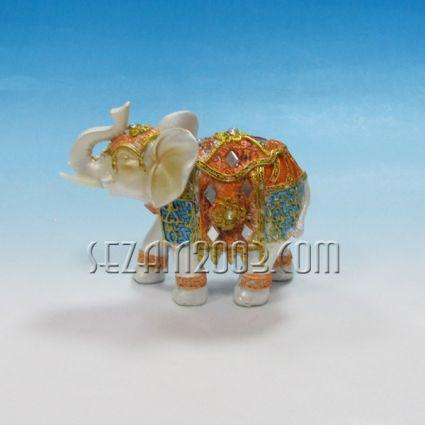 Слонче декорирано -  фигура от полирезин