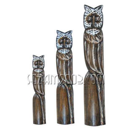 Бухали - фигури от дърво 3бр.к-т декорирани