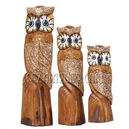 Бухали от дърво 3 бр. комплект декорирани
