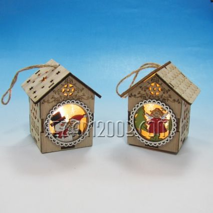 КЪЩА Коледна от мдф с лампички и батерии -стояща или висяща