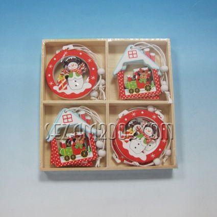 Коледни висулки -12бр.-дървени - 4 мод.в дървена кутия