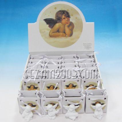 Ангелче  от резин в подаръчна торбичка от хартия в мострена кутия
