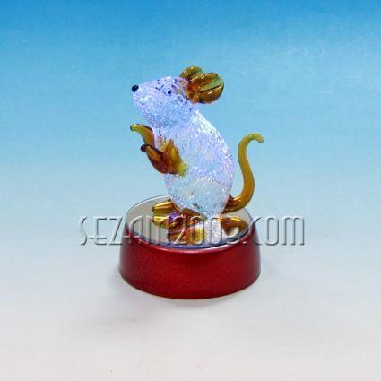 Мишка светеща фигура от стъкло на пластмасова  поставка