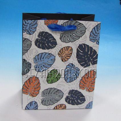 Подаръчна торбичка  от лукс хартия с брокат- ЛИСТА