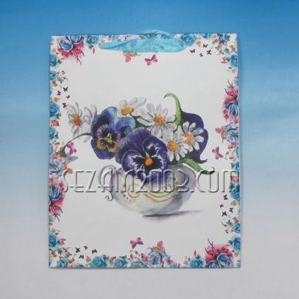 Подаръчна торбичка  от лукс хартия с брокат- ВАЗА