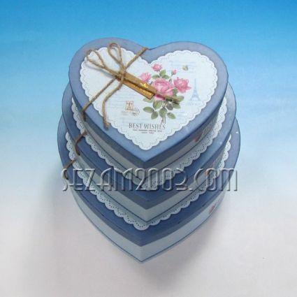 Подаръчни кутии винтидж дизайн - СЪРЦЕ - 3бр.к-т различни големини