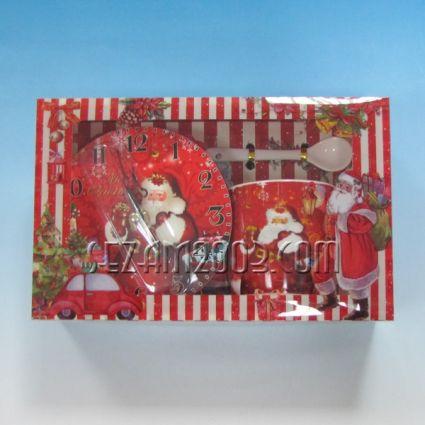 Колед.подарък-порц. чаша+лъжичка+ст.часовник от мдф в лукс кутия