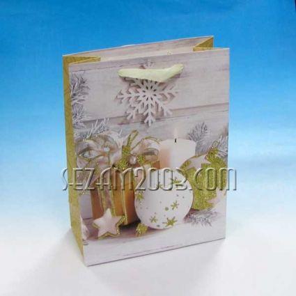 Коледна подаръчна торбичка лукс хартия+брокат