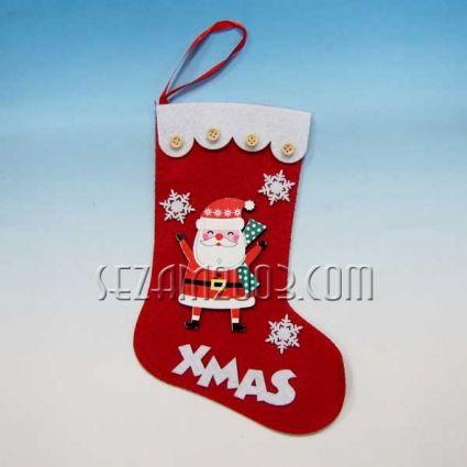 Коледен чорап от еко полар - декориран