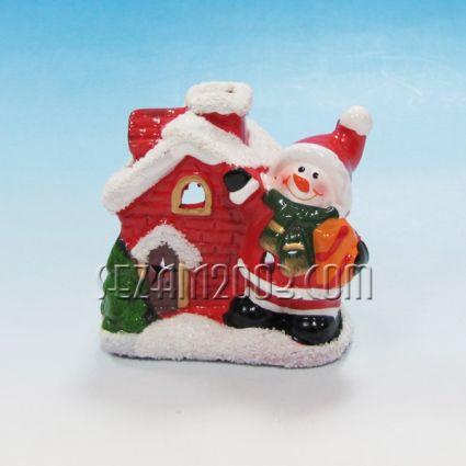 Коледна къща от керамика - светилник за свещ