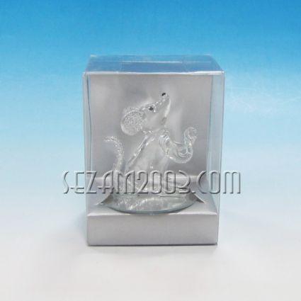 Мишка от стъкло в подаръчна кутийка