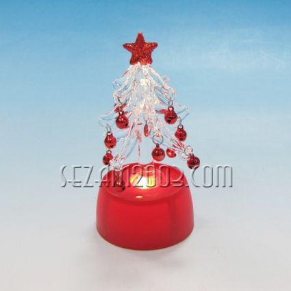 Коледна елха от стъкло с лампички и батерии