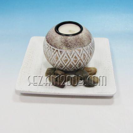 Свещник от мдф с чинийка и декорация+камъчета