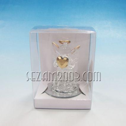 Ангелче+златно сърце - стъклена фигурка в подаръчна кутийка