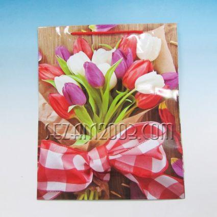 Подаръчна торбичка от гланцова хартия-ЦВЕТЯ