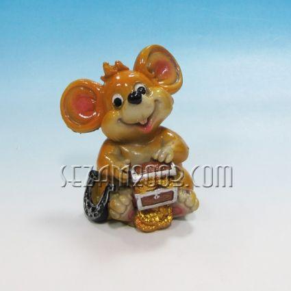 Мишка с парички - касичка от полирезин