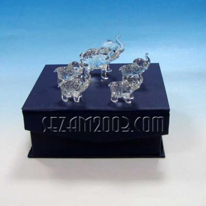 glass elephants set 5 pieces
