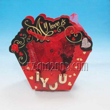 Св.Валентин-Подаръчна кошничка от хартия с плюшено мече и роза